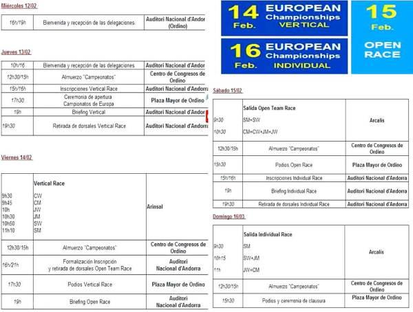 Esqui de Montaña Europeo Skimo Andorra Fontblanca Programa carreras 12-16Feb