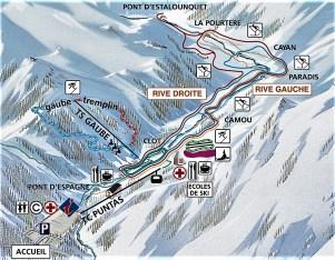 esqui nordico cauterets pont d´espagne mapa de pistas