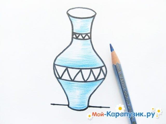 Krok za krokem kreslení váza s barevnými tužkami - foto 10