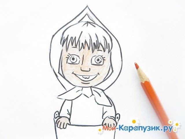 """Поэтапное рисование Маши из м/ф """"Маша и Медведь"""" цветными карандашами - фото 11"""