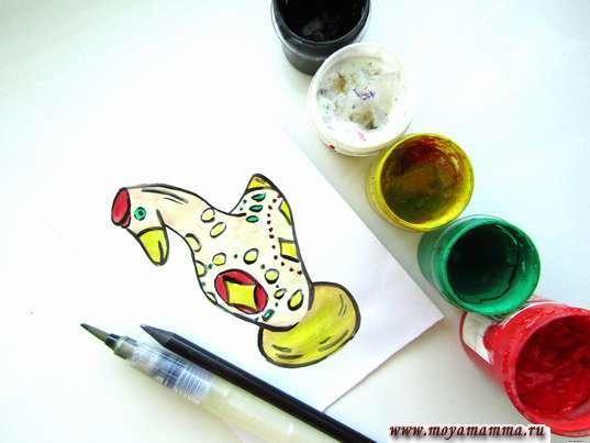 Рисунок Дымковская игрушка Уточка пошагово для детей