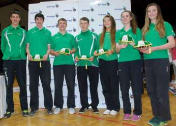 All the Moycullen 2014 Internationals displaying their caps....