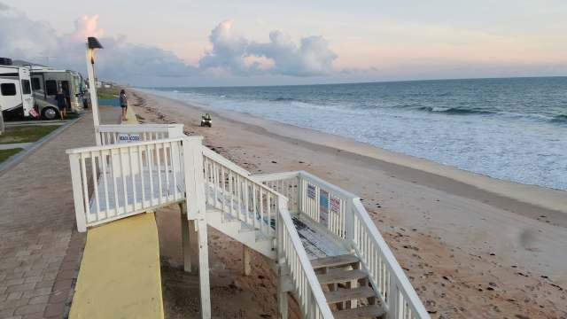 beach access steps away from the beachfront camping at Flagler beach Florida