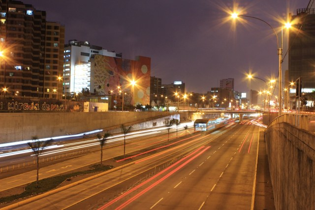 Night shot of Lima freeway system in Peru