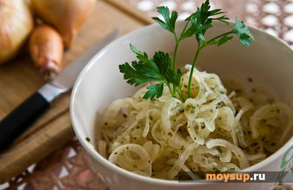 Salad with boiled chicken and marinated onions  Salad with