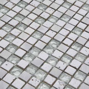 30x30 Glasmozaïek/Steenmozaïek - Zilver Kristal