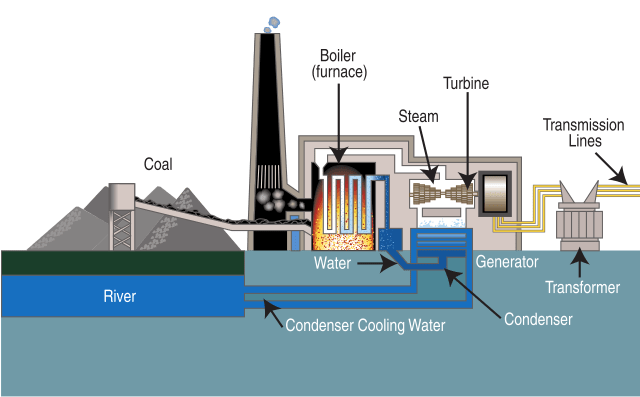 Diagram of a typical steam-cycle coal power plant (proceeding from left to right)