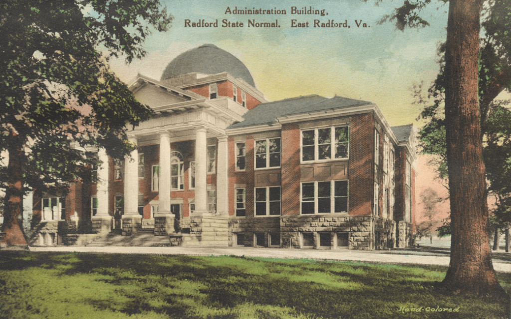 The Administration Building as depicted on a postcard from the 1920s.