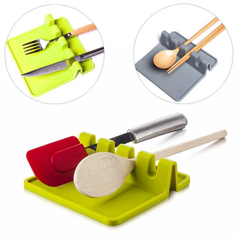Gray Bpa Free For Kitchen Gadgets Spoon Rest Silicone Utensil Rest And Spoon Holder For Kitchen Stove Top Utensil Holder Shovel Stand Drain Pad Heat Resistant Spoon Rests Kitchen Dining