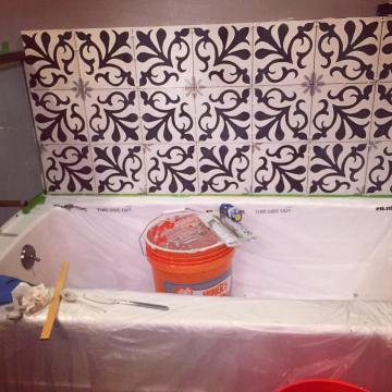 almost tiled bath