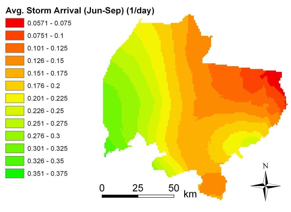 Avg storm arrival June-Sep 1988-2002 map