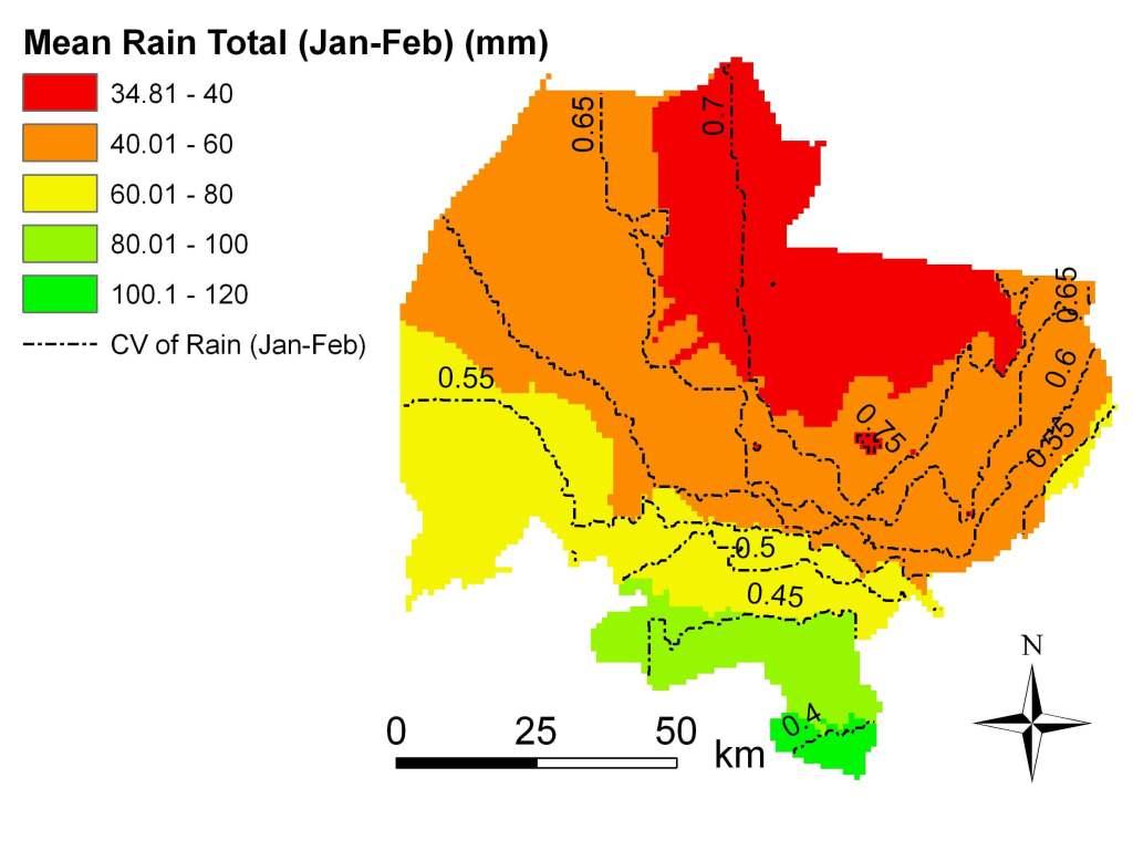 Rain total Jan-Feb 1960-2002