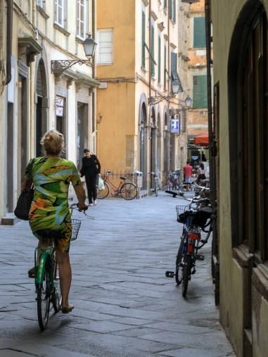 Concordance de verts (robe, vélo, volets, mur ... peut-être même les chaussures)