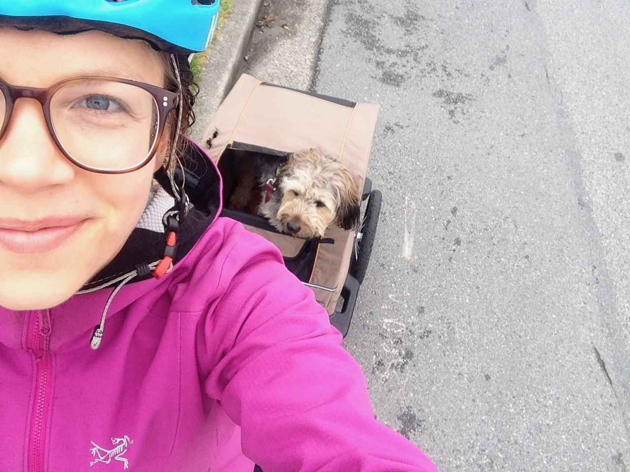 michelle pulling dog on bike