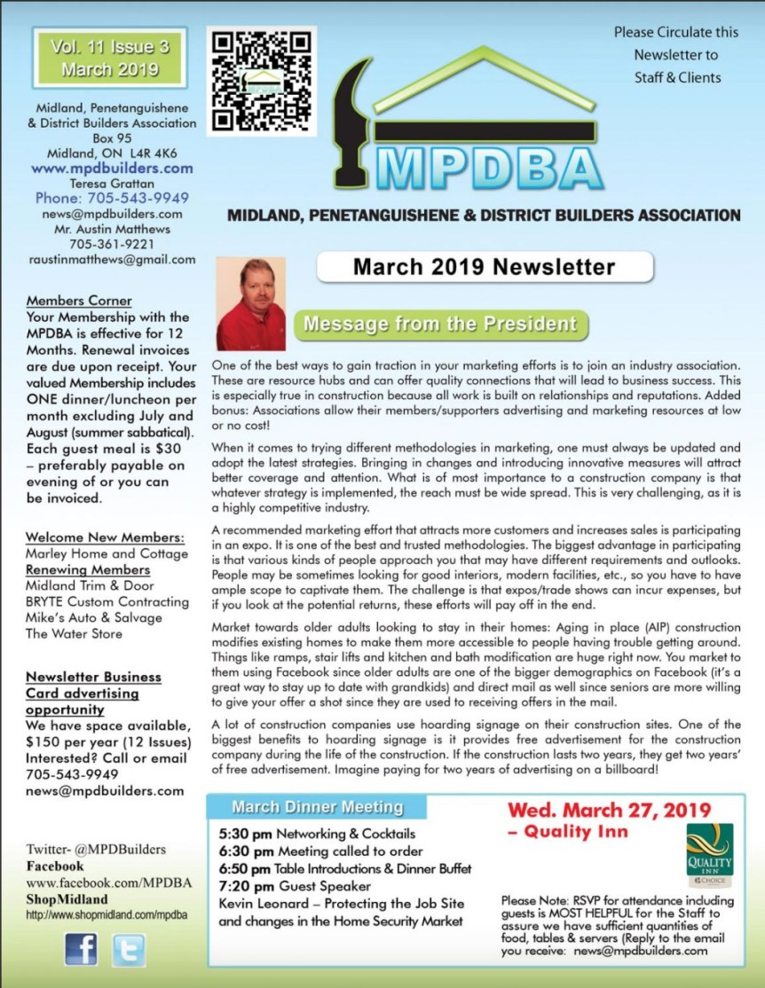 March 2019 Newsletter Cover