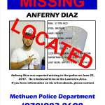 Anferny Diaz Has Been Located