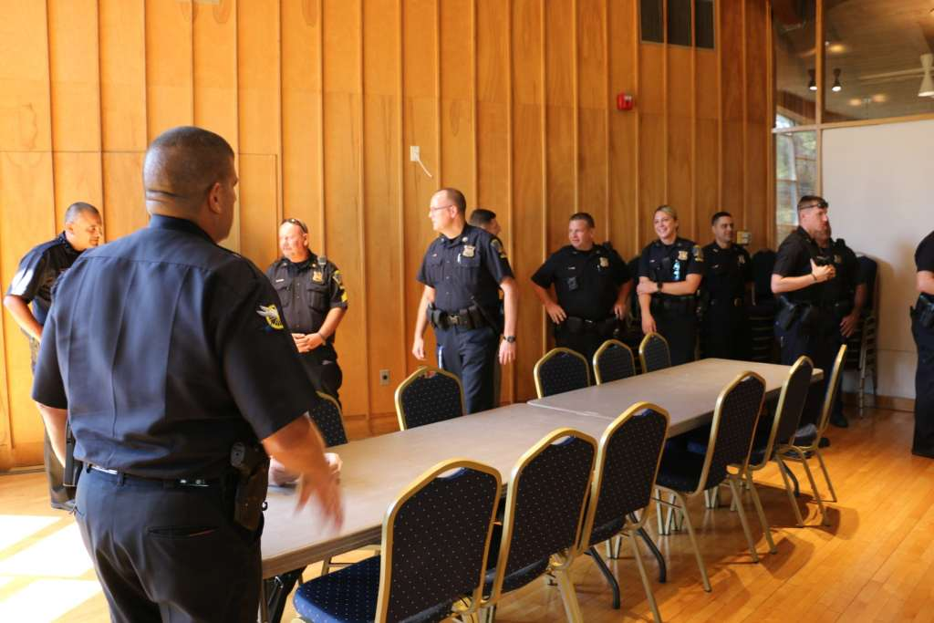 Officers attending the ceremony