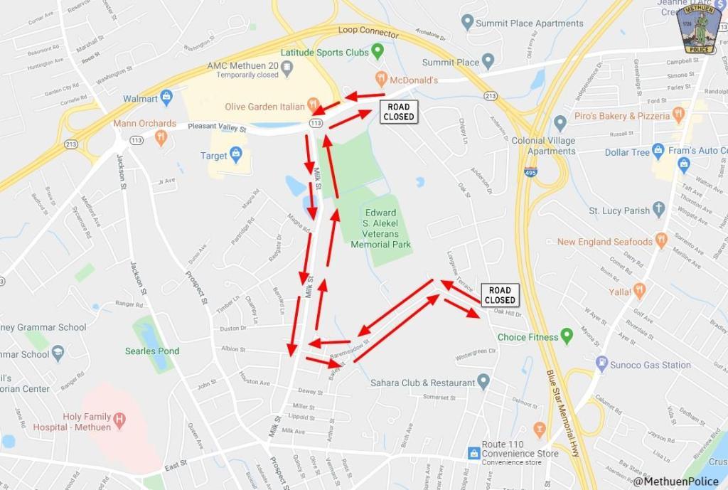Oak St. detour map