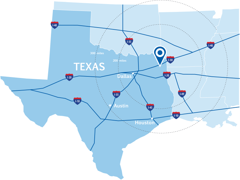 Map of Texas showing Mount Pleasant, major interstates, and nearby metro areas