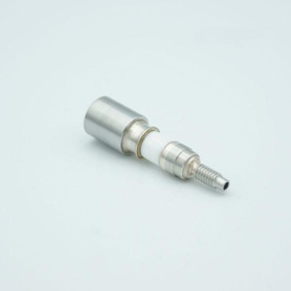"""Power Feedthrough, 5000 Volts, 8/32 Threaded Stud w/ No Conductor, 0.435"""" Dia Stainless Steel Weld Adapter"""