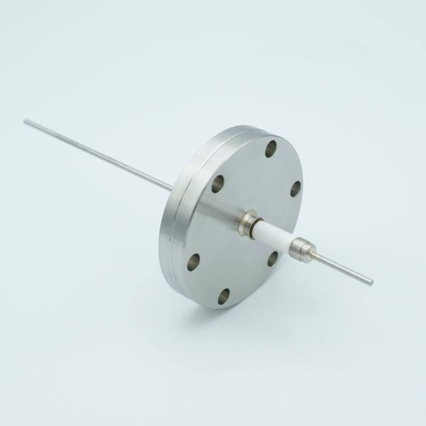"""Power Feedthrough, 14,000 Volts, 3 Amps, 1 Pin, 0.094"""" Stainless Steel Conductor, 2.75"""" Conflat Flange"""