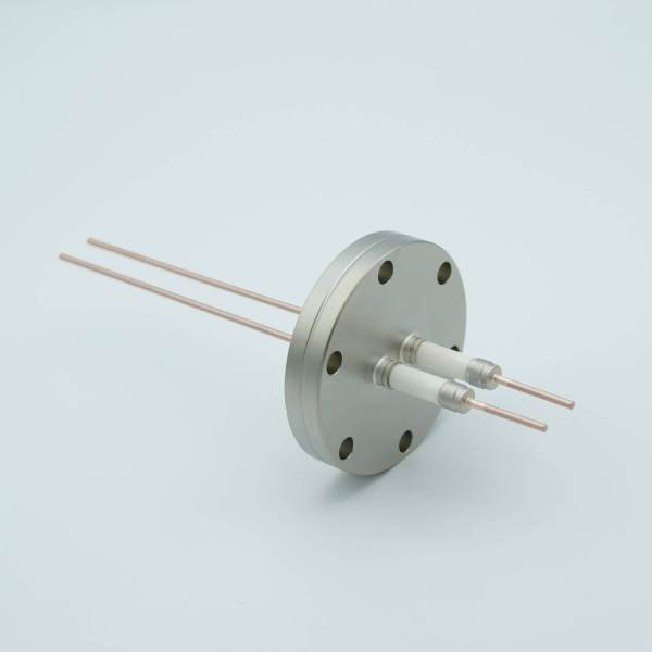 """Power Feedthrough, 14,000 Volts, 50 Amps, 2 Pins, 0.094"""" Copper Conductors, 2.75"""" Conflat Flange"""