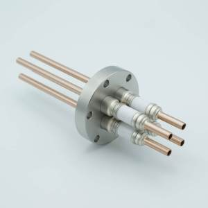 """Power Feedthrough, Watercooled, 12,000 Volts, 4 Tubes, 0.25"""" Copper Conductors, 2.75"""" Conflat Flange"""