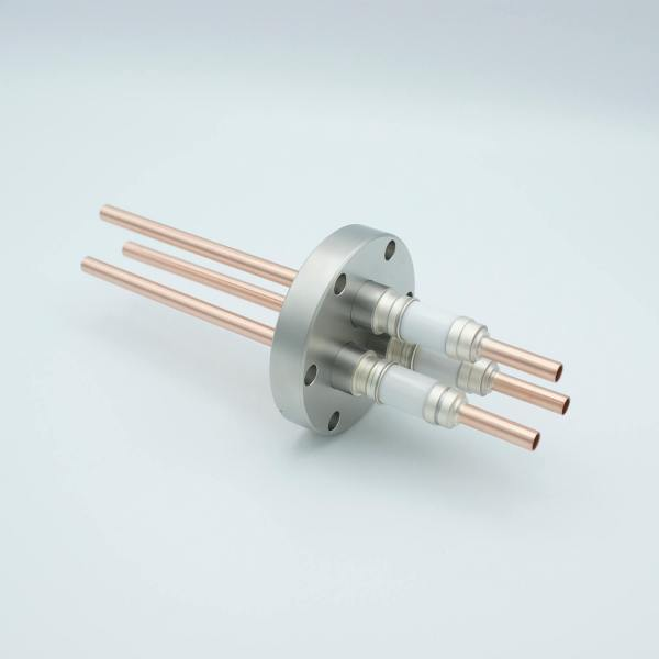 """Power Feedthrough, Watercooled, 12,000 Volts, 3 Tubes, 0.25"""" Copper Conductors, 2.75"""" Conflat Flange"""