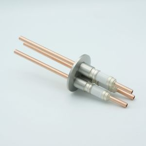 """Power Feedthrough, Watercooled, 12000 Volts, 3 Tubes, 0.25"""" Copper Conductors, 2.16"""" QF / KF Flange"""