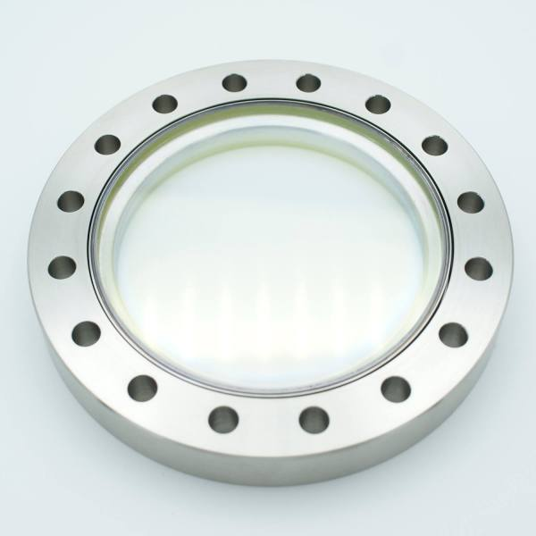 """UHV Viewport, DUV Grade (Laser) Fused Silica w/Broadband AR Coating(BBAR) for 550-1100NM,3.88 View Dia, 6.00"""" Conflat Flange"""
