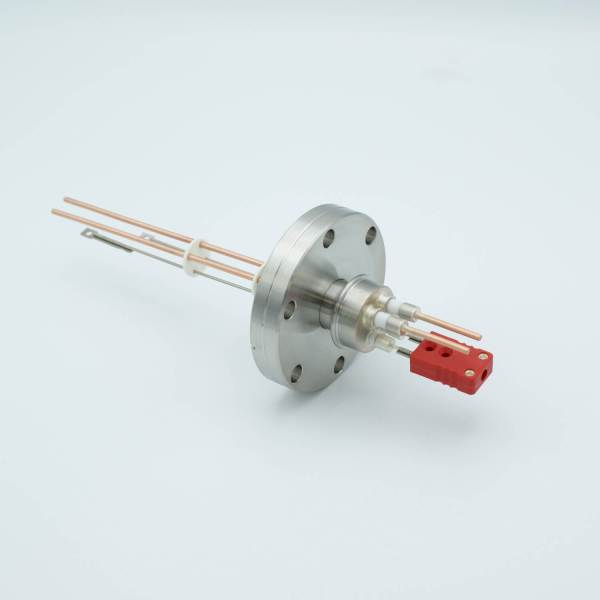 """Thermocouple-Power Feedthrough, 1 Pair Type C, w/ Miniature TC Connector, 5000 Volts, 30 Amps, 2 Pins, 2.75"""" Conflat Flange"""