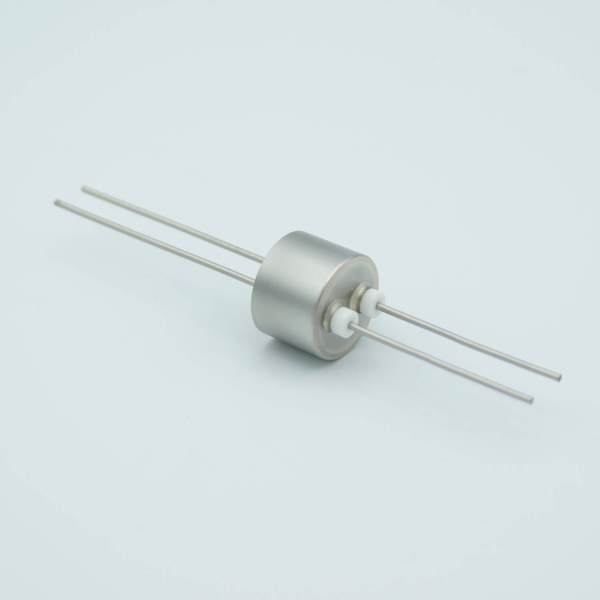"""Power Feedthrough, 1000 Volts, 1 Amp, 2 Pins, 0.050"""" Stainless Steel Conductors, 0.747"""" Dia Stainless Steel Weld Adapter"""