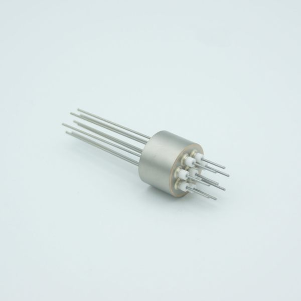 """Power Feedthrough, 500 Volts, 5 Amps, 8 Pins, 0.032"""" Nickel Conductors, 0.747"""" Dia Stainless Steel Weld Adapter"""