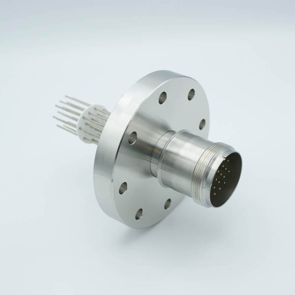 """MS Series, Multipin Feedthrough, 20 Pins, 700 Volts, 10 Amps per Pin, 0.056"""" Dia Conductors, w/ Air-side Connector, 4.50"""" Conflat Flange"""