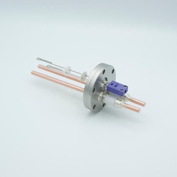 """Thermocouple-Power Feedthrough, 1 Pair Type E, w/ Miniature TC Connector, 5000 Volts, 150 Amps, 2 Pins, 2.75"""" Conflat Flange"""