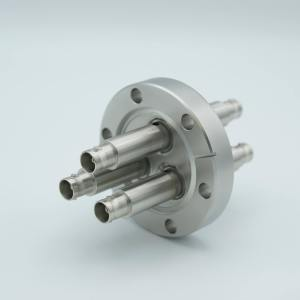 """MPF - A0473-6-CF MHV Coaxial Feedthrough, 3 Pins, Grounded Shield, Double-Ended, 2.75"""" Conflat Flange"""