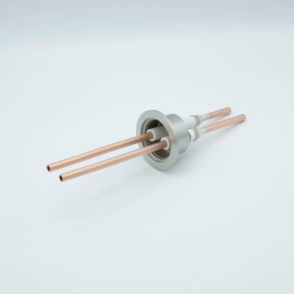 "RF Power Feedthrough, 8000 Volts, 10 KW @ 450 KHz, 2 Tubes, 0.25"" Copper Conductors, 2.16"" QF / KF Flange"