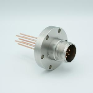 "MPF - A0752-1-CF MS High Current Series, Multipin Feedthrough, 7 Pins, 700 Volts, 23 Amps per Pin, 0.094"" Copper Conductors, 2.75"" Conflat Flange"