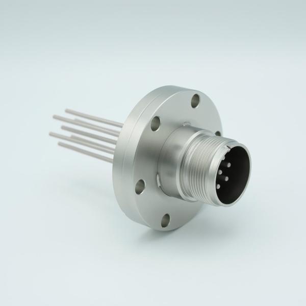 "MPF - A0752-2-CF MS High Current Series, Multipin Feedthrough, 7 Pins, 700 Volts, 15 Amps per Pin, 0.094"" Nickel Conductors, 2.75"" Conflat Flange"