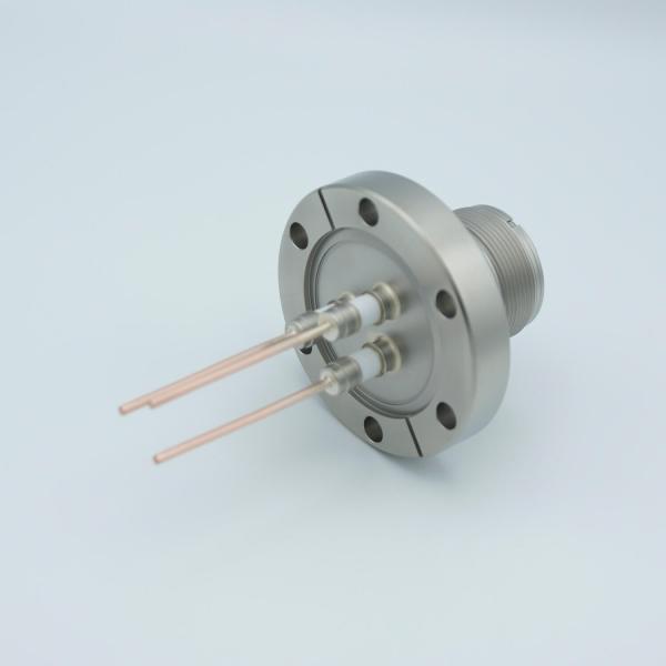 "MPF - A0753-1-CF MS High Current Series, Multipin Feedthrough, 2 Pins, 700 Volts, 23 Amps per Pin, 0.094"" Copper Conductors, 2.75"" Conflat Flange"