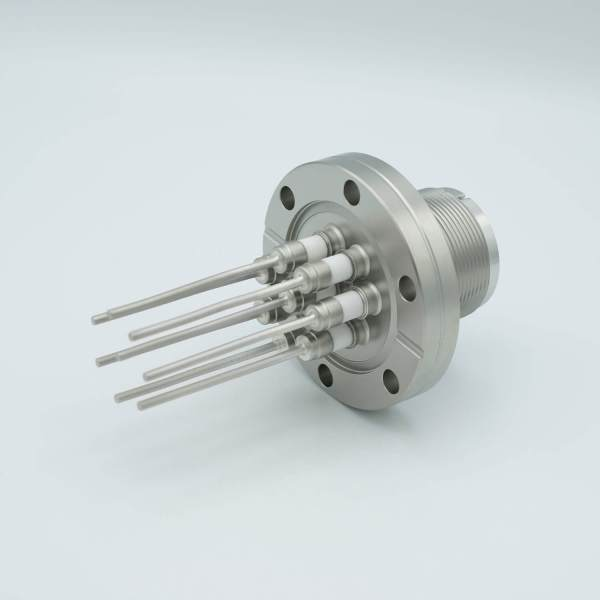 """MS High Current Series, Multipin Feedthrough, 8 Pins, 700 Volts, 15 Amps per Pin, 0.094"""" Nickel Conductors, 2.75"""" Conflat Flange"""