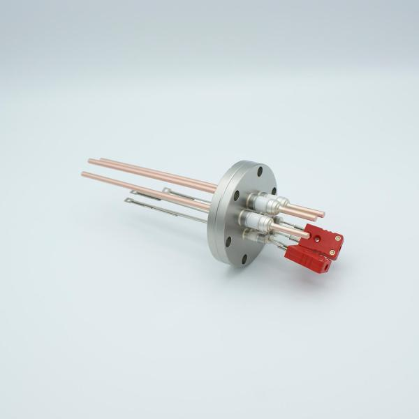 """Thermocouple-Power Feedthrough, 2 Pairs Type C, w/ Miniature TC Connectors, 5000 Volts, 60 Amps, 3 Pins, 2.75"""" Conflat Flange"""