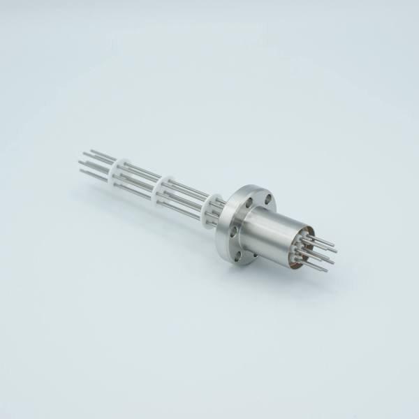 """Power Feedthrough, 1000 Volts, 1 Amp, 8 Pins, 0.050"""" Stainless Steel Conductors, 1.33"""" Conflat Flange"""