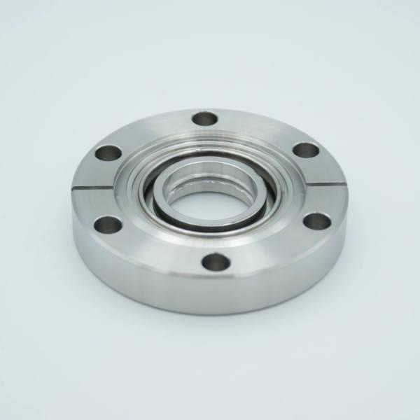 """UHV Viewport, Calcium Fluoride (CaF2), 157 Grade, UHV Rated Vacuum Optics, 0.90"""" View Dia, 2.75"""" Conflat Flange"""
