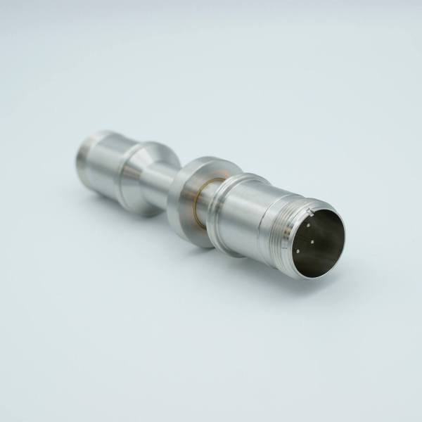 """MS Series, Thermocouple Feedthrough, Type J, 2 Pairs, Double-Ended w/ Air & Vacuum-side Connectors, 1.37"""" Dia Stainless Steel Weld adapter"""