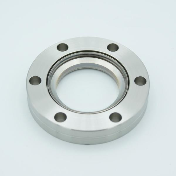"""UHV Viewport, DUV Grade (Laser) Fused Silica, Zero Length Profile, w/ AR Coating for 1550nm, 1.42"""" View Dia, 2.75"""" Conflat Flange"""