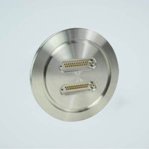"""MPF - A1529-5-ISO Subminiature D-type Multipin Feedthrough, 2 x 25 Pins, 500 Volts, 5 Amps per Pin, 5.12"""" ISO Flange"""