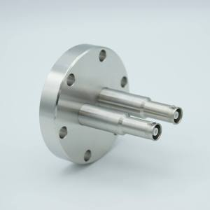 """MPF - A1600-3-CF SHV-10 Coaxial Feedthrough, 2 Pins, Grounded Shield, 2.75"""" Conflat Flange"""