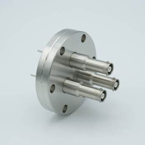 """MPF - A1601-4-CF SHV-10 Coaxial Feedthrough, 3 Pins, Grounded Shield, Exposed Insulator, 2.75"""" Conflat Flange"""