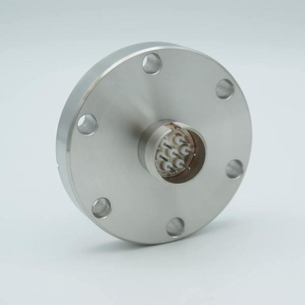 """Multipin Feedthrough, 7 Pins, 500 Volts, 3.5 Amps per Pin, 0.032"""" Dia Conductors, 2.75"""" Conflat Flange"""